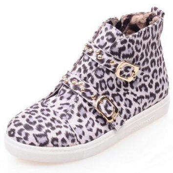 White Leopard Print Round Toe Buckle Casual Shoes Zipper Women Flat Shoes Woman Boot Alternative Measures