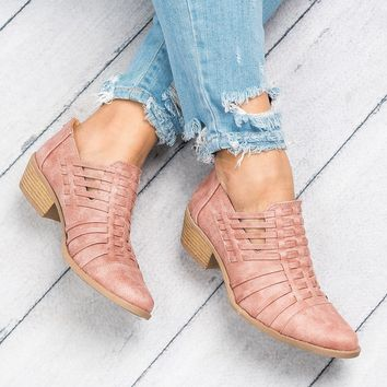 Strappy Faux Leather Booties - Mauve