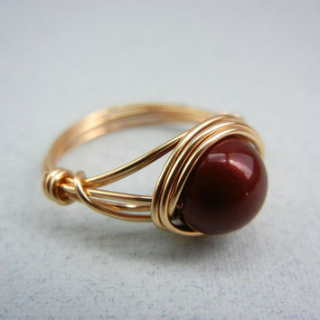 Wire Wrap Ring - Bordeaux Swarovski Pearl - Custom Size Ring