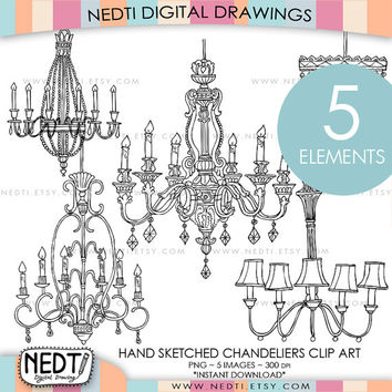 Chandeliers Hand Drawn Clip Art, Clipart, Digital Images, Hand Sketched, PNG, 300dpi, Instant Download