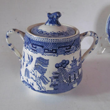 1800s Blue Willow Sugar Bowl With Lid Cobalt Blue White Pagoda England Ridgeways Blue Willow Sugar Bowl Double Handle English Willow ware