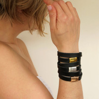 NEW Set of 3 leather wrap bracelets in black with silver and gold plated closures SOT01