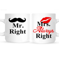 Mr Right and Mrs Always Right Personalized Coffee Mugs