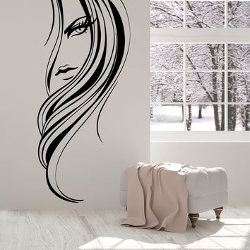 Vinyl Wall Decal Beautiful Girl Face Long Hairstyle Hair Salon Stickers Unique Gift (1620ig)