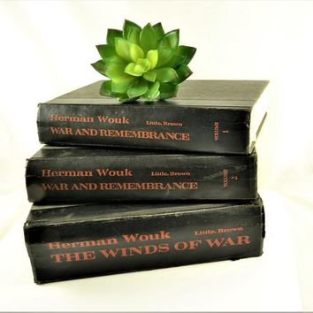 3 Herman Wouk Books War and Remembrance Volume 1 & 2, 1971 The Winds Of War Black Red Lettering 1978 Home Decor Library Summer Reading