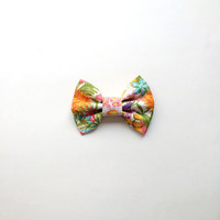 Colorful Floral Summer Hairbow, Large Girls Bow, Flower Hairbow for Teens