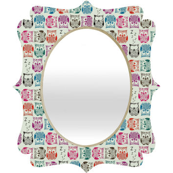 Sharon Turner Light Sherbet Owls Quatrefoil Mirror