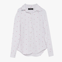 White Polka Dots Button Front Blouse
