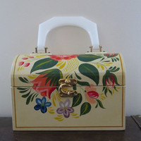 Cute Vintage Wooden Retro Novelty Floral Box Bag / Purse / Large / Picnic
