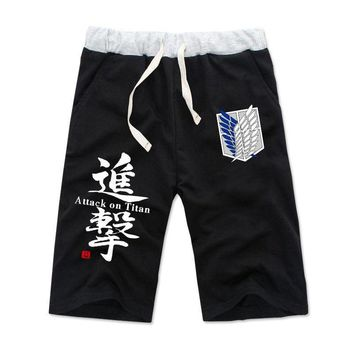 Cool Attack on Titan Anime  Cotton Casual Short Pants Fashion Elastic Summer Shorts Joggers Size S-XXXL AT_90_11