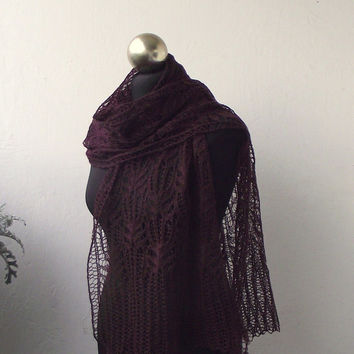 lace scarf, Burgundy hand knitted shiny lace scarf with Frost Flowers pattern