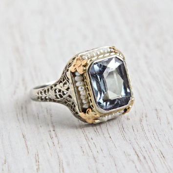 Antique Art Deco 14K White Gold Filigree Ring - 1920s Synthetic Alexandrite, Seed Pearl Rose Gold Flower Fine Jewelry - Color Changing Gem