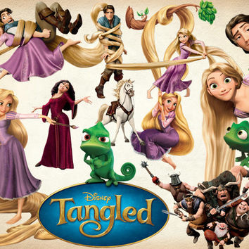 33 Tangled Clipart PNG princess Digital Graphic Image rapunzel Scrapbooking Disney Tangled Invitations INSTANT DOWNLOAD printable 300 dpi