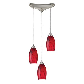 20001/3RG Galaxy 3 Light Pendant In Red And Satin Nickel - Free Shipping!