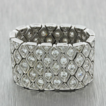 Vintage Art Deco Style 18k Solid White Gold 1ctw Diamond Wide Mesh Band Ring