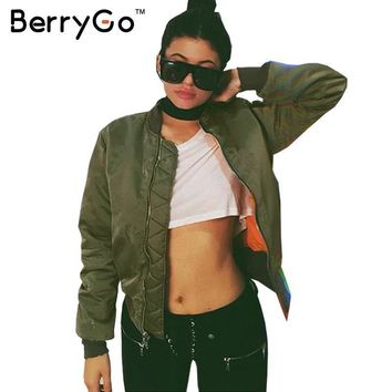 BerryGo Winter parkas Army Green bomber jacket