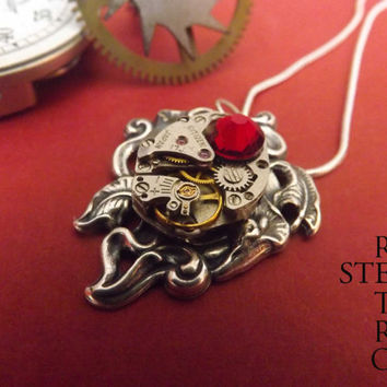 Gift Boxed - Steampunk Siam Lily Necklace - Steampunk Necklace - Lily Pendant -Steampunk Jewelry by Steamretro