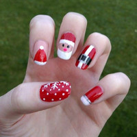 Christmas Nail Art, Santa Claus, Snowflakes, Festive False Fake Acrylic Handpainted Press On Nail Set