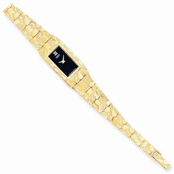 10k Yellow Gold Black 15x31mm Dial Rectangular Face Nugget Watch