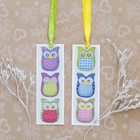 Happy Owls Bookmarks - Set ot 2 handmade Bookmarks with cute lovely owls