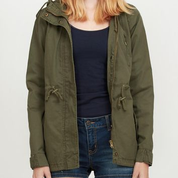 Le3no Womens Anorak Jacket With Hood And Drawstring Waist