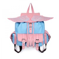 ZLYC Fashion Angel Wing Backpack Schoolbag Handbag (pink+blue)