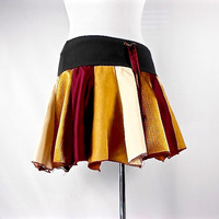 Patchwork Skirt, Upcycled Clothing, Hippie Skirt, Boho Chic Clothing, Hippie Clothes, Bohemian Clothing, Short Skirt, Burgundy and Gold