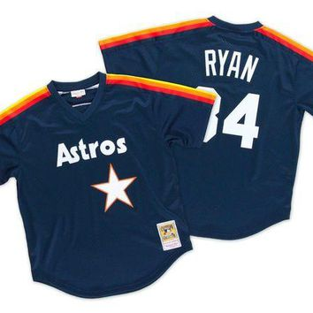 DCCKU62 Mitchell Ness Nolan Ryan 1988 Authentic Mesh BP Jersey Houston Astros In Dark Navy
