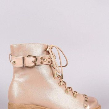 ONETOW Shoe Republic LA Studded Buckled Lace-Up Combat Ankle Boots