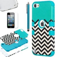 ULAK [Colorful Series] 3-Piece Style Pattern Hybrid Silicon Hard Case Cover for Apple iPod Touch 5 6th Generation (Wave Pattern/Blue)