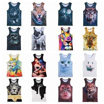 Fashion 3d Animal Print Vest Men women  Gorilla Monkey Tiger Cat Dog Wolf Hamster Leopard Funny Tank Tops Sleeveless T-shirts