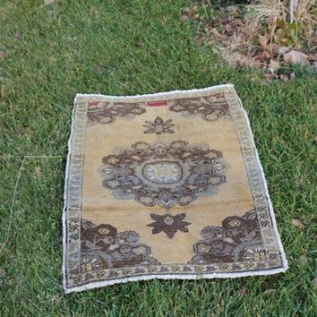 Berber Antique Brown  Rug, Oriental Bright Color Yellow Rug, Rainbow Area Mandala Rug, 1.8 x 2.6  Feet AG925