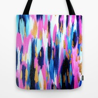 Spring Golden - Pink and Navy Abstract Tote Bag by Allyson Johnson | Society6