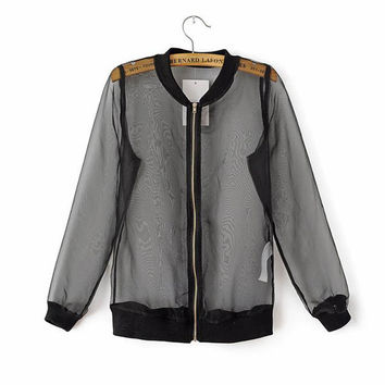 Korean See Thru Sheer Organza Zip Biker Blouson Baseball Bomber Jacket Blazer D