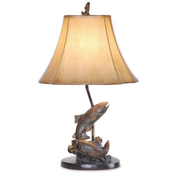 Vintage Direct L7077LAZS Grecian Antique Bronze 25-Inch Fish Table Lamp