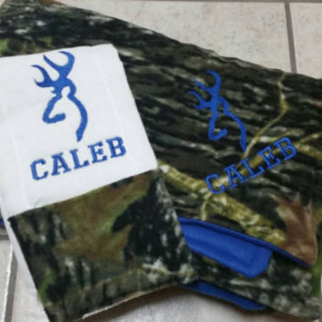 Custom Camo Baby Blanket, Camo Blanket, Custom Camo Blanket Personalized with Deer Head & Burp Cloth Gift Set ANY COLOR