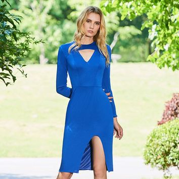 Full sleeves short cocktail dress blue scoop knee length sheath gown lady