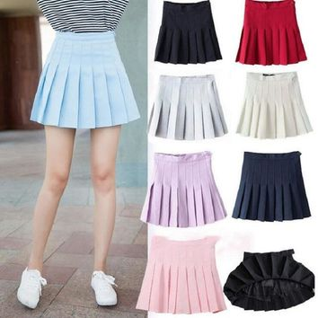 2018 Women Skirts Spring Summer Harajuk Kawaii Girl High Waist Pleated Skirt Solid Color Thin Network Ball Skirt Female Lining
