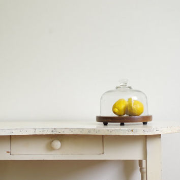 vintage glass cheese dome with wooden base // cloche display // goodwood teak and glass cheese platter