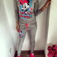 Gagaopt 2016 Autumn Women Tracksuit Printed Lovely Mickey Sweatshirt+Pant 100% Cotton High Quality New Casual Women Femme Suits