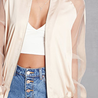 Sheer-Panel Satin Bomber Jacket
