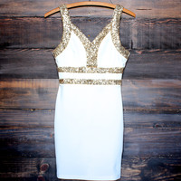 moonlit gold sequin party dress , white body con