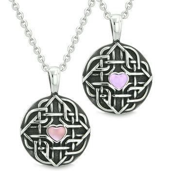 Amulets Love Couple Best Friends Celtic Shield Knot Heart Purple and Pink Simulated Cats Eye Necklaces