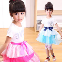 New Girls Children Fashion Bicolor Princess Dress With Silk Blet 5 pcs/lot Girls Baby Summer Letter Short Sleeve Lace TUTU Dress