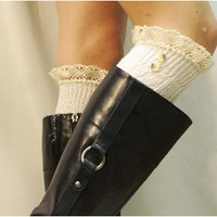 SWISS LACE Boot Socks in ivory European Sophistication for your tall boots Must have for Fall Made in America by Catherine Cole Studio BKS9