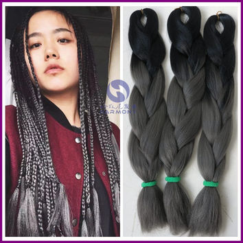 FREE SHIPPING 10packs ombre color dark grey hair extensions braids black+dark grey color kanekalon synthetic box braiding hair
