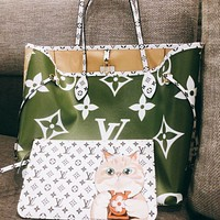 Louis Vuitton LV Fashion New Lady Printed Cartoon Letter Three-Piece Handbag Shoulder Bag