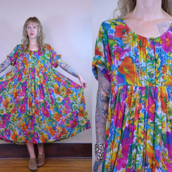 Vintage 90's Tropical Floral Indian Cotton Bohemian Babydoll Dress