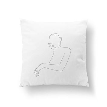 Female Portrait Pillow, Cushion Cover, Home Decor, Woman Illustration, Bed Pillow, Throw Pillow, Female Pillow, Black And White,Line Drawing