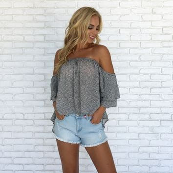 Heritage Off Shoulder Print Blouse